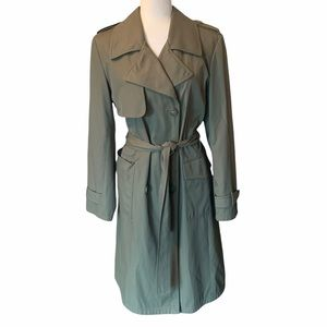 Green Long Nicole Belted Trench Coat Sage
